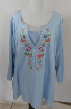 Kim Rogers Woman 3X Blue Blouse Embroidered Design Pullover 3.4 sleeve Shirt Top #KimRogersWoman #Blouse #Casual