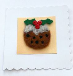 Christmas+Card+Needle+Felted+Christmas+Pudding £3.00