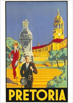 Travel poster encouraging visits to Pretoria in South Africa. Two stylishly-dressed tourists stand on the steps of the Print Framed, Poster, Canvas Prints, Puzzles, Photo Gifts and Wall Art History For Kids, History Timeline, Pretoria, Aesthetic Collage, Vintage Travel Posters, Africa Travel, Vintage Advertisements, South Africa, Online Printing