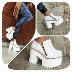 Funky Shoes, Fab Shoes, Me Too Shoes, Shoes Heels, High Heel Boots, Knee Boots, Heeled Boots, Gothic Shoes, Denim Boots