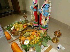Vishu Greetings, Festival Decorations, Table Decorations, Rice Paddy, Puja Room, Gold Ornaments, Lord Krishna, My Room, Kerala