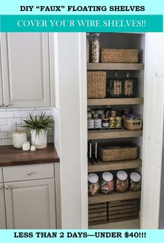 Wire Pantry Shelves, Wire Closet Shelving, Pantry Storage, Pantry Organization, Diy Storage, Organizing Ideas, Covering Wire Shelves, Shelf Makeover, Plywood Shelves