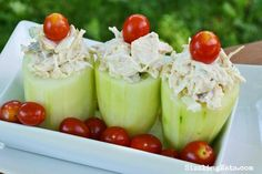 Cucumber Cups Stuffed with Grilled Chicken Salad.