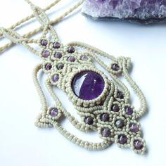 Macrame Necklace Pendant Amethyst Stone Quartz Waxed Cord Handmade Cabochon #Handmade #Pendant