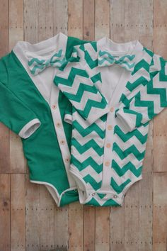 Spring Twin Baby Cardigan One Piece Set: Green and Green chevron with Interchangeable Tie Shirts and Bow Ties on Etsy, $65.00