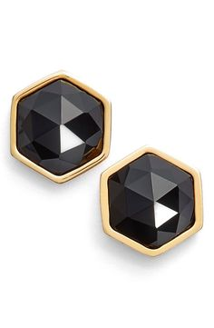 Classic and chic, these black and gold hexagon earrings are perfect.