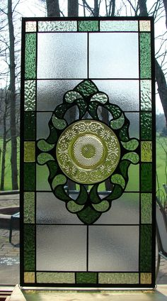 stained glass panel Daisy Amber Olive