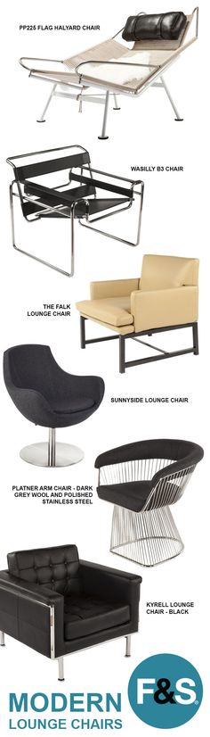 A comfortable lounge chair doesn't need to look frumpy. This collection of modern lounge chairs elegantly blends the line between design and comfort. You can have the best of both worlds, and you deserve it. Mcm Furniture, Furniture Styles, Furniture Design, Furniture Sketches, Couches, Ottoman, Small Apartment Decorating, Loft, Apartment Interior