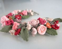 My Secret Garden Bridal Charm Bracelet - Polymer Clay via Etsy