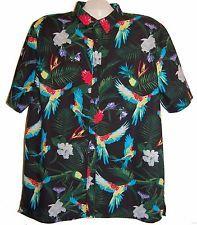H&M Divided Black Bright Floral Design Men Fashion Shirt Blouse Cotton Sz XL NEW