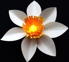 Battery powered tea lights have been popular for a couple of years now. They are great party decorations because unlike regular candle tea lights, these are safe. This paper project [ … ] Handmade Flowers, Diy Flowers, Diy Arts And Crafts, Kids Crafts, Construction Paper Flowers, Origami Diy, Crafts For Seniors, Senior Crafts, Tissue Paper Flowers