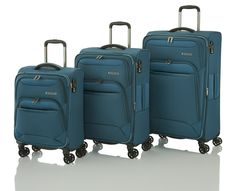 Travelite Kendolite Set Trolleys L/M erw. 4W, Trolley S + Bordtasche Petrol