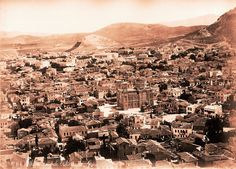 Athens viewed from the Acropolis, looking down on the Cathedral and Monastiraki. the date is 1885 or later in my opinion. There is just too much built, especially in the New Town area at the foot of Lykavittos. Greek Town, Political Problems, Old Greek, Acropolis, Athens Greece, Interesting History, Old City, Ancient Greece, Historical Photos