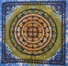 Handmade tie and dye elephant mandala Indian Blue yellow shaded hanging tapestry double bed throw mandala print dorm tapestry SFD019 by colornframe on Etsy