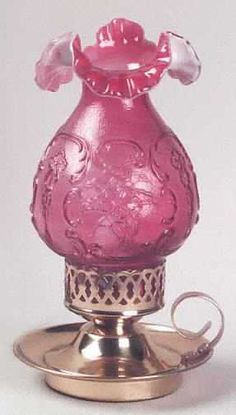 Glass Hurricane Lamp by Fenton Art Glass-USA at Replacements, Ltd. Chandelier Lamp, Vintage Chandelier, Vintage Lamps, Antique Table Lamps, Antique Oil Lamps, Glass Hurricane Lamps, Glass Lamps, Kerosene Lamp, Cranberry Glass