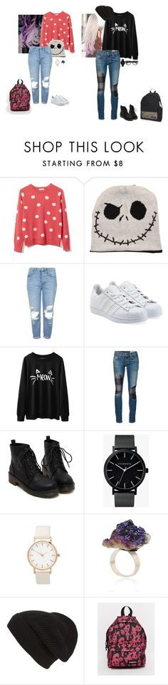 """Untitled #194"" by deboraoliveira-1 ❤ liked on Polyvore featuring Equipment, Topshop, adidas Originals, rag & bone/JEAN, The Horse, Phase 3 and Eastpak"