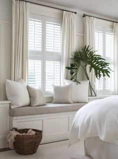 Do I add curtains in living room window seat area? Combining plantation shutters with curtains privacy coziness warmth (for Grayson's room) Cottage Living, My Living Room, Home And Living, Curtain Ideas For Living Room, Living Area, Cozy Living, Modern Living, Shutters With Curtains, White Curtains