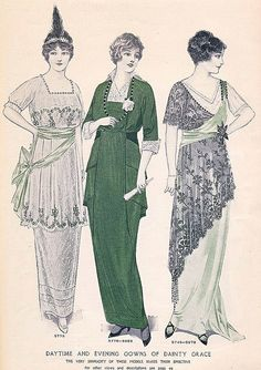 """""""Daytime and Evening Gowns of Dainty Lace and Grace"""" from a March 1914 issue of McCalls magazine."""