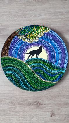 Lonely wolf by SThennaCollections on Etsy Wolf Painting, Dot Art Painting, Rock Painting Designs, Painting Patterns, Stone Painting, Mandala Painted Rocks, Mandala Rocks, Mandala Drawing, Mandala Painting