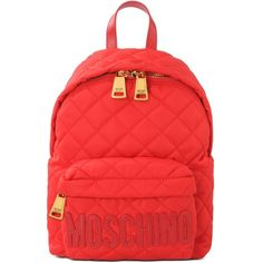 Moschino Rucksack (5.970 ARS) ❤ liked on Polyvore featuring bags, backpacks, red, day pack backpack, logo bags, logo backpacks, red bag and zipper bag
