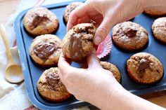 "Muffins au coeur coulant de Nutella offers you the recipe ""Nutella flowing heart muffins"" step by step. With a photo for each step, making this recipe is child's play."