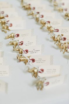 gold animal seating cards Photography by onelove photography / onelove-photo.com