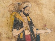 Gardener Portrait (detail). Opaque water-based pigments, partially gold-speckled, backed with paper, Provincial Mughal or Rajasthani school, India, second half 18th century