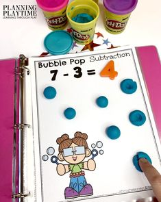 Looking for a fun Subtraction Activities Binder? This one is great for SUPER low prep addition practice on the go. Just add some playdough or toys and play. Subtraction Kindergarten, Subtraction Activities, Kindergarten Math Activities, Kids Math Worksheets, Preschool Lessons, Preschool Activities, Teaching Math, Binder, Tot School