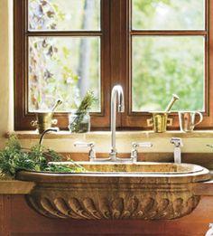 .carved travertine marble sink