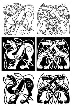 Wolves and Dogs in Celtic Ornament  #GraphicRiver         Wolves and dogs in celtic ornament for retro design.