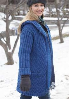 Free Pattern - Patons Classic Wool Roving - Car Coat with Hood (knit)