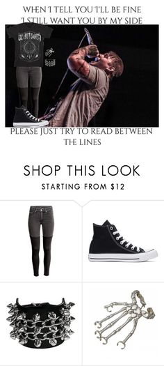 """""""B=BEARTOOTH"""" by xxemotrashxx ❤ liked on Polyvore featuring H&M, Converse and Bernard Delettrez"""