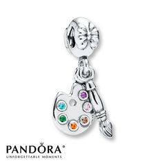 """Pandora """"Artist's Palette"""" charm in Sterling Silver with Cubic Zirconias in pink, purple, brown, orange, green and blue- Spring 2014 Hobbies Collection. This one is perfect for my artist daughter, Natnicha! <3"""