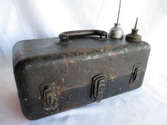 Vintage Industrial Chic Black Metal Large Tool Box by BleuBelleMaison, $38.00 This old tackle box has neat turquoise compartments inside!