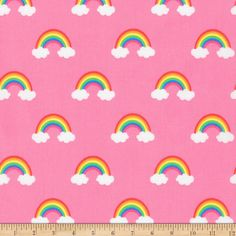 Robert Kaufman Fabric Happy Little Unicorns Rainbow Pink HALF METRE