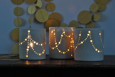 "In Stock! Handmade Ceramic Luminary, ""Garlands of Light"", Straight Sides, Dove Grey to Cream. Festive Holiday Luminaries by Naomi Anita by NaomiAnita on Etsy https://www.etsy.com/listing/210461665/in-stock-handmade-ceramic-luminary"