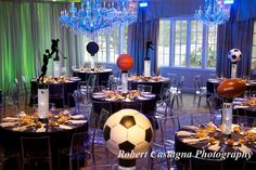 Astounding ideas sports centerpieces pine brook country club robert castagna photography bar mitzvah for tables mitzvahs banquets Bar Mitzvah Decorations, Bar Mitzvah Centerpieces, Sports Centerpieces, Bar Mitzvah Themes, Bar Mitzvah Party, Bat Mitzvah, Sports Theme Birthday, Baseball Birthday, Baseball Party