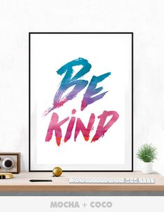 Be Kind Kids Poster | Modern Wall Art, Cute Children's Wall Decor, Kids Room, Printable Mocha + Coco, INSTANT DOWNLOAD