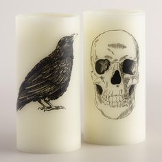 Skull and Crow Flameless LED Pillar Candles, Set of 2 at World Market with a realistic wick design Vintage Halloween Decorations, Halloween Party Decor, Halloween Town, Holidays Halloween, Halloween Treats, Halloween Lighting, Flameless Candles, Pillar Candles, Candleholders