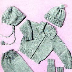 PDF Vintage Darling Baby Cable Pram Set Knitting Pattern, with Pull-Ups & Bobble-Hat Retro, Traditional, Heirloom Prettyx Baby Knitting Patterns, Baby Patterns, Crochet Patterns, Crochet Baby, Knit Crochet, Pram Sets, Baby Prams, Bobble Hats, Baby Bonnets