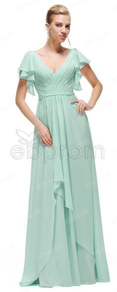 Modest Mint Green Long Prom Dresses with Butterfly Sleeves from ebprom