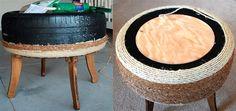 Mesinha com pneu reciclado