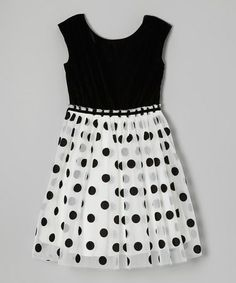 Take a look at this Ivory & Black Velvet Polka Dot Dress - Girls by Speechless on #zulily today!