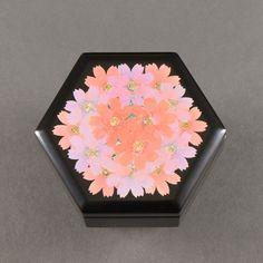 Wajima Lacquer Small Box (Hexagonal), Cosmos Flower by Tomoda: JSHOPPERS.com