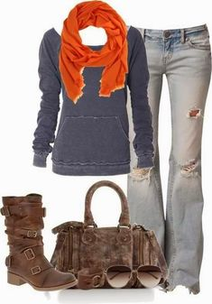 Adorable orange scarf, grey sweater, ripped jeans, handbag and long boots for fall Fun and Fashion Blog