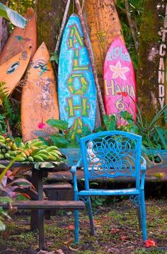 Aloha fun like the letters on fake surf boards