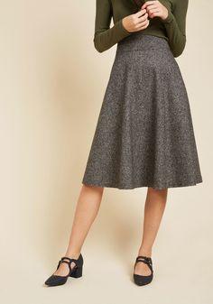 Prim Class Hero Midi Skirt in Charcoal in M, #ModCloth