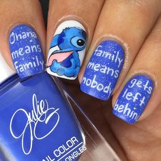 Inspiring Disney Nails Ideas For You To Try in 2019 Stitch Nail Art ❤️ Simple and easy acrylic or gel Disney nails design ideas to wake up your inner princess. Nail Art Disney, Disney Acrylic Nails, Disney Nail Designs, Winter Nail Designs, Best Acrylic Nails, Cute Nail Designs, Acrylic Nail Designs, Simple Disney Nails, Cartoon Nail Designs
