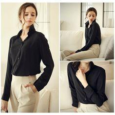 Loose-Solid-Color-Long-Sleeve-Chiffon-Women-Blouse-White-Black-Blue-Women-Chiffon-Blouse-V-neck.jpg (1000×1000)
