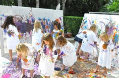 Have a large canvas so all the kids can put their handprints on it for her  Maybe give all kids a big t-shirt so their clothes won't get dirty.